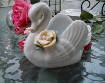 Vintage White Porcelain Swan With Pink Roses, Gold Trimmed, Home Decor, Shabby Chic, Table Decoration, Shabby Cottage Beach Treasury Item