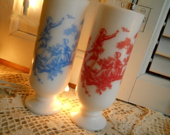 2 Vintage Avon White Glass Tall Pedestal Cups With French Toile Pattern- Serving Supplies Collectibles Home Decor Housewares- 1960's