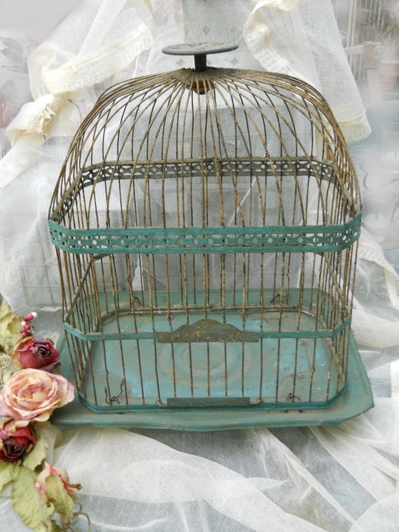 RESERVED or Nicole...Gorgeous Verdigris Hendryx Bird Cage- 1920's- 30's Beautiful Domed top, Beautifully Decorated Top Handle
