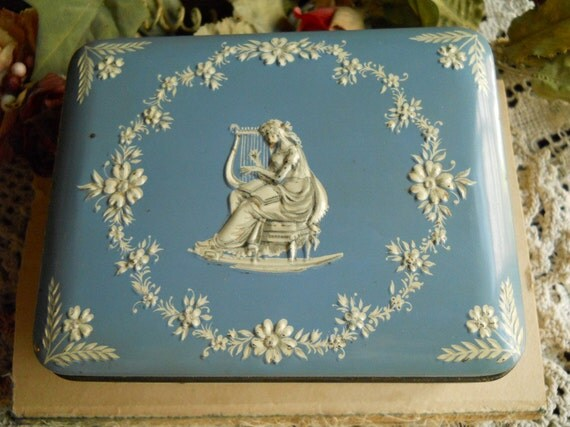 Vintage Wedgewood Blue Relief Metal Lidded Box- White Bas Relief Woman Playing Instrument- 3 Dancing Women On 4 Sides- Treasury Item
