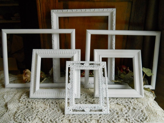 Collection Of Vintage Frames- Shabby Chic- Paris Apartment- Home Decor- Beach Cottage Collection..Treasury Item