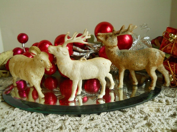 1940's-50s Plastic Christmas Reindeers And A Ram- Christmas Decor Collectibles Animals Christmas Reindeers Antiques Vintage Christmas Decor