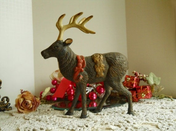 1930's Vintage Large Cast Iron Reindeer- Collectibles- Home Decor- Christmas Decor- Collector's Cast Iron Victorian...Treasury Item x 4
