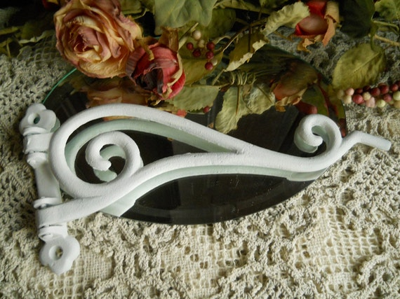 Vintage White Heavy Metal Plant/ Birdcage Swing- Arm Hook- Housewares Supplies Antiques Shabby Chic Scroll Iron Hook