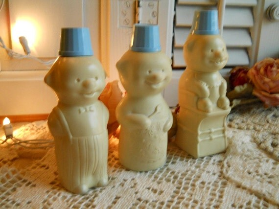 Vintage Avon 3 Bears Baby Products Bottles- Baby Oil, Baby Lotion, Baby Shampoo- Collectible Avon Bottles 1960's- Supplies Nursery Decor