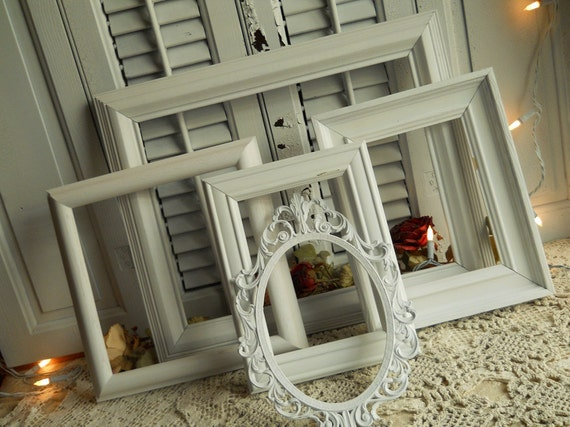 Vintage Collection Cottage White Frames Architectual Wall Art- Vintage Home Decor- Shabby Chic Decorating- Decorating Frames