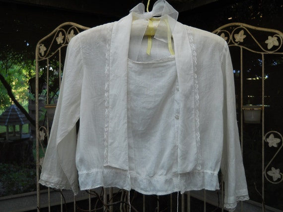 1800's Victorian Batiste Blouse Long Collar Down Front, Inset Panel, Long Sleeve Lace Trim Drawstring Waist Ruffled Waist Antique Victorian