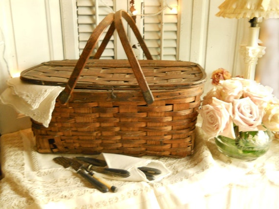 Picnic Basket Items : Items similar to antique s wood picnic basket wooden