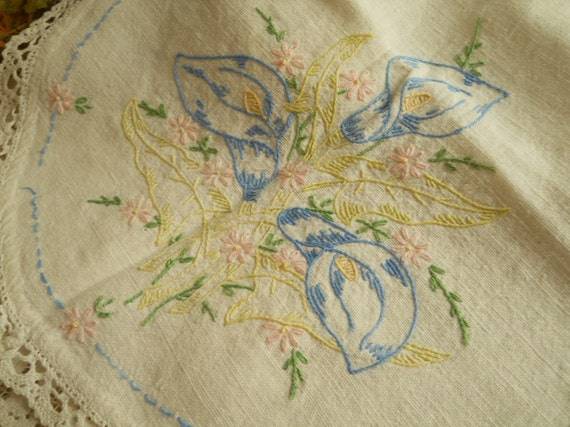 Vintage Hand Made 1930's Dresser Scarf/ Chair Cover, Linen Embroideried Lilies And Pink Flowers Home Decor Shabby Chic Antique Linens