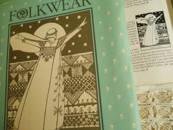FOLKWEAR Pattern Syrian Dress Vintage Pattern Optional Embroidery Designs Sizes Small, Average and Tall Sewing Vintage Dress Pattern