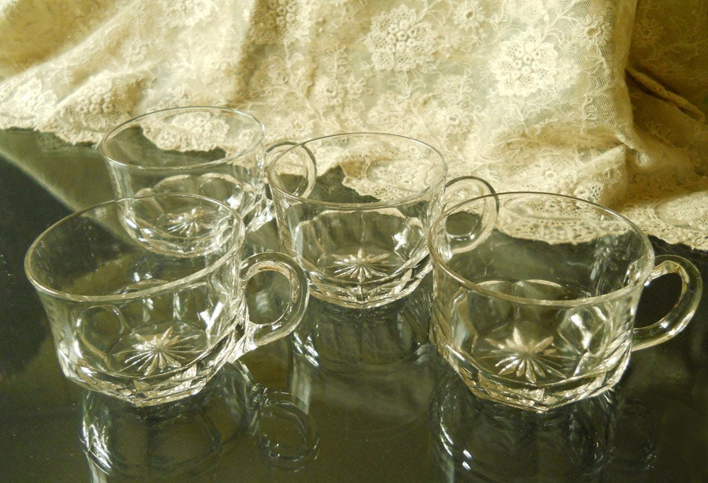 Vintage 1940 39 s clear starburst glassware cups set of 4 - Starburst glassware ...