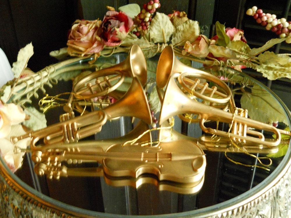 Collection Of 5 Vintage Musical Instrument Ornaments Home