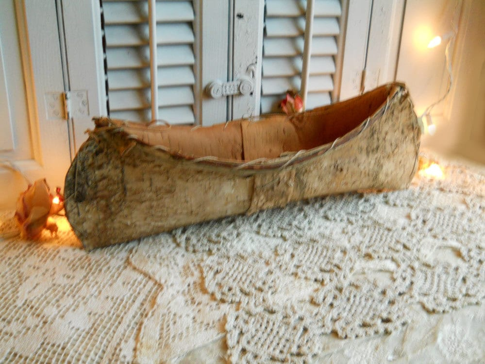Vintage Birch Bark Wood Canoe Handcrafted By