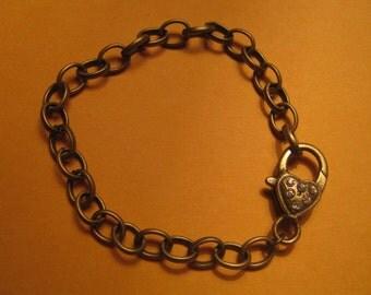 Antique Bronze Rhinestone Lobster Clasp Bracelet - 1pc.