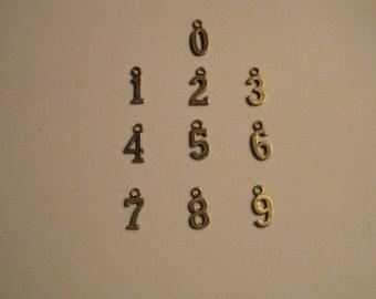 Bronze Vintage Number Charm Set