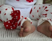 Valentine Bow Leg Warmers -Valentines Day- white with red hearts and polka dot bows