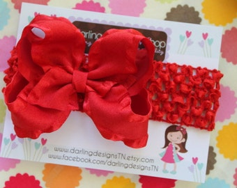 Red Large Boutique Bow Headband -- double ruffle ribbon on crochet headband-- YOU CHOOSE red or green