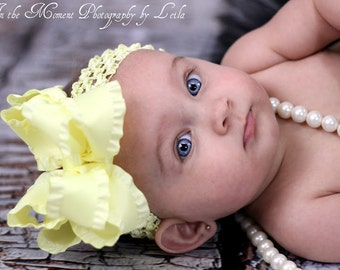 "Soft Yellow Double Ruffle Bow and Headband -- Large Yellow Bow -- 5"" Double Bow"