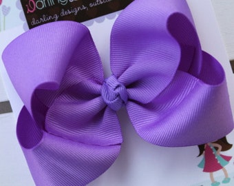 "Purple Bow -- 4"" boutique bow -- Darling Little Bow Shop"