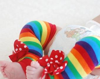 Newborn Rainbow Leg Warmers -- rainbow striped bow leg warmers -- red polka dot bows