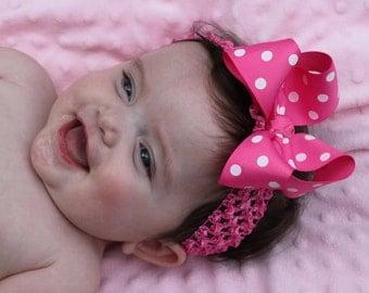 Hot Pink Bow and Headband -- Baby Girl Headband -- Hot Pink Polka Dot Bow -- Hot Pink Headband
