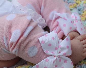 Baby Girl Leg Warmers -- Bow Leg Warmers -- Pink Leg Warmers -- Pink polka dots