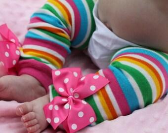 Baby Girl Leg Warmers -- Bow Leg Warmers -- Striped Leg Warmers -- Rainbow Taffy Stripes