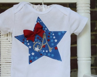 Baby Girl onesie -- American Sweetie Onesie -- 4th Of July Onesie -- personalized with her initial in silver -- order by 6/22