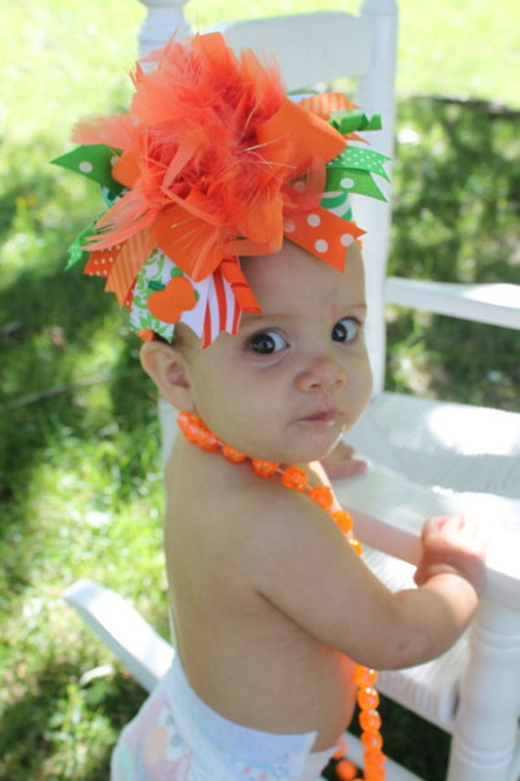 Over The Top Boutique Pumpkin Patch Bow -- Perfect for Pumpkin Patch or Halloween