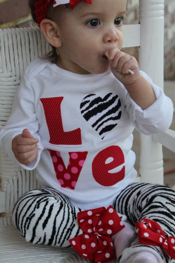 Valentine bodysuit - LOVE - hand cut applique in with zebra heart