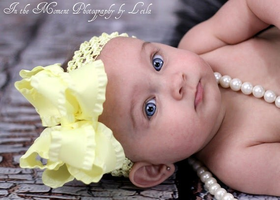 """Soft Yellow Double Ruffle Bow and Headband -- Large Yellow Bow -- 5"""" Double Bow"""