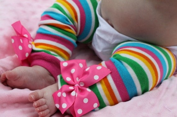 Baby Girl Leg Warmers -- Bow Leg Warmers -- Striped Leg Warmers -- Rainbow Taffy Stripes
