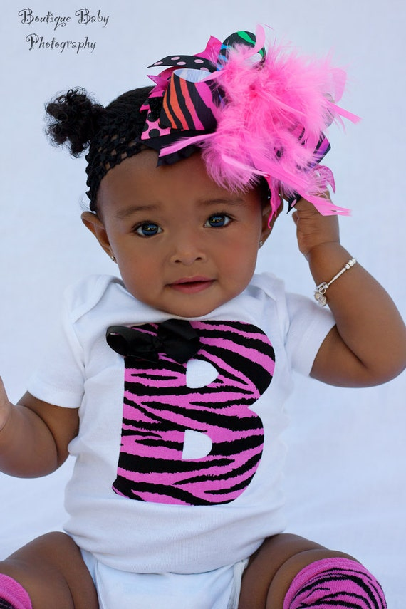 Baby Girl Outfit -- Hot Pink Zebra Outfit -- LEG WARMERS and Initial BODYSUIT