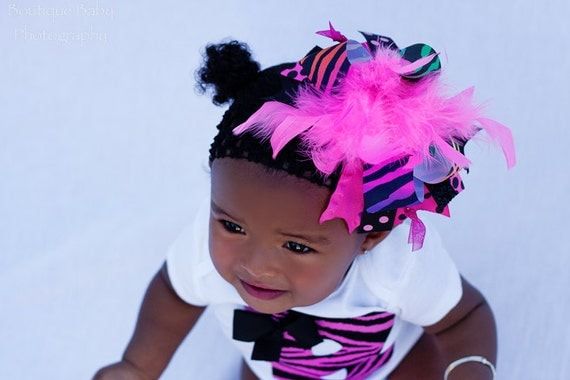 Over The Top Bow -- Hot Pink Zebra bow -- Pink and Black -- Darling Little Bow Shop
