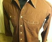 Vintage Brown Collared Long Sleeve Shirt