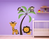 Nursery Childs Room Girls or Boys Set/  Monkeys Giraffe  Lion with a Palm Tree Home Wall Decor Children