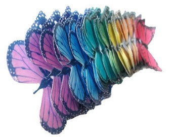 Monarch Rainbow -  Edible Butterflies in a small set of monarchs - Cake Decorations Cupcake Toppers