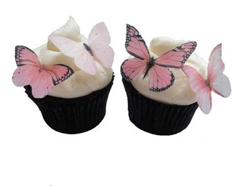 EDIBLE BUTTERFLIES CUPCAKE Toppers - 24 Light Pink Edible Butterflies - Blush Pink Cake Decorations