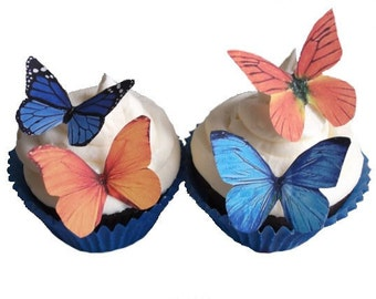 24 Edible Butterflies - Blue and Orange - Tangerine - Cupcake Toppers - Cake Topper - Cake Decorations - Etsy Wedding
