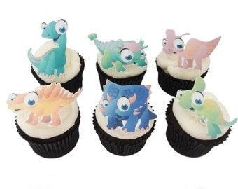 12 EDIBLE DINOSAUR  - Cupcake Toppers - Theme Birthday Party Decorations Cake Boys