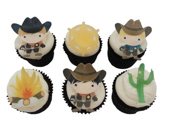 Birthday Party Decorations and Cupcake Toppers, Cakes for Kids, Boys Birthday, Edible Image, Edible Toppers   - EDIBLE SHERIFF COWBOY