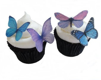 CUPCAKE TOPPER - 24 Edible Butterflies in Purple and Blue - Cake Topper, Cupcake Decoration, Wedding Cup Cake