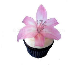 Edible Cake Pink Lily - 12 Cupcake Toppers - Cake Decoration - Birthday Decoration