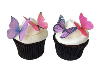EDIBLE BUTTERFLIES in 24 Pink and Purple - Edible Paper Butterflies, Cake Decorations, Wedding Cake, Birthday Decorations