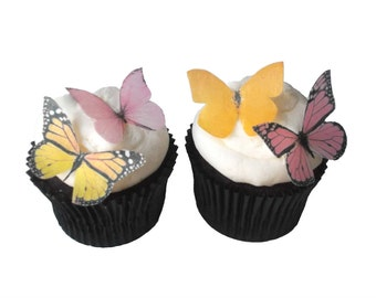 24 Edible Butterflies in Pink and Yellow - Cup Cake Decorations, kids Cakes, Christening Cake, Cake Ideas, Cupcake Supplies