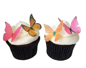 Edible Butterflies - CAKE DECORATIONS - 24 Edible Butterflies in Pink and Orange - Butterfly Cake Toppers - Wedding Cake