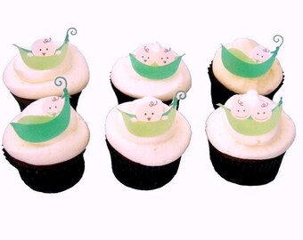 Cupcake Decorations for Baby Showers and Birthday Cake, Edible Images, Twins Shower and Birthdays - PEA PODS