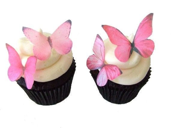Butterfly Edible Cake Images : EDIBLE PAPER Butterflies in 24 Prettiest Pink Cupcake
