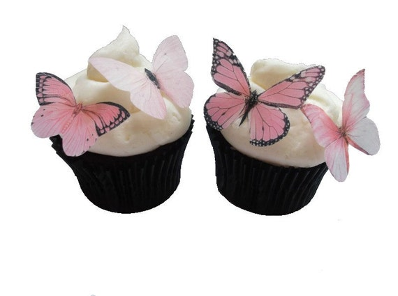 EDIBLE BUTTERFLIES CUPCAKE Toppers 24 Light by ...
