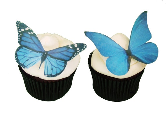 EDIBLE BUTTERFLIES  12 Large Blue - Cupcake Supply, Cake Supply, Cake Decoration, Cupcake Decoration